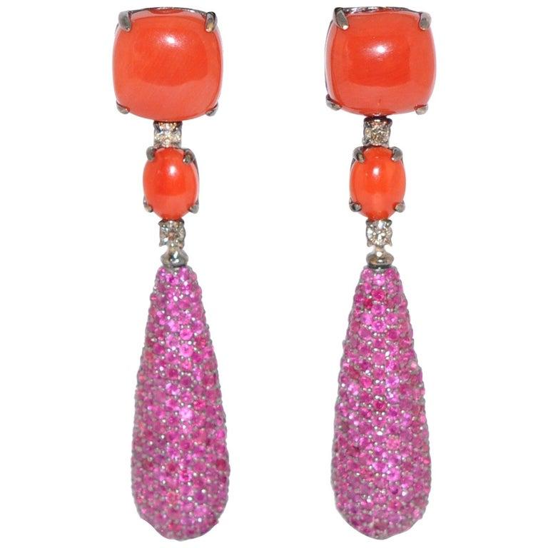 C Ruby And White Diamond On Black Gold 18 Karat Chandelier Earrings For