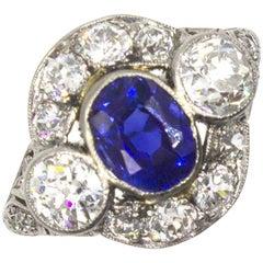 Antique Diamond Kashmir Sapphire Platinum Ring