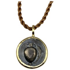 Georgios Collection 18 Karat Gold Pendant Necklace with Silver Coin with Amphora