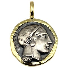Georgios Collections 18 Karat Gold and Silver Coin Pendant Necklace of Athina