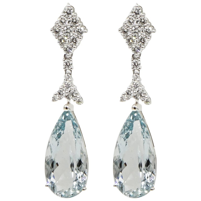 Aquamarine and Diamond White Gold Drop Earrings