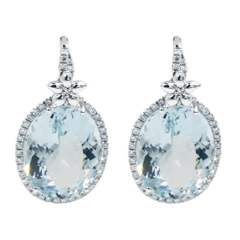 Oval Aquamarine and Diamond Drop Earrings