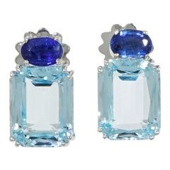 Blue Topaz and Kyanite Earrings