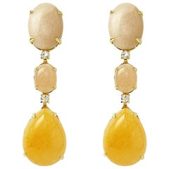 Peachmoonstone and Opal with White Diamond on Yellow Gold Chandelier Earrings