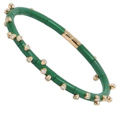 18 Karat Rose Gold Diamonds and Green Aluminium Bracelet