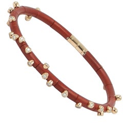 18 Karat Rose Gold Diamonds and Red Aluminium Bracelet