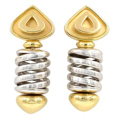 Marina B 18 Karat Yellow and White Gold Earring Clips, circa 1980