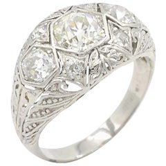 Art Deco Three-Stone Diamond and Platinum Ring, circa 1930s