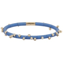 18 Karat Rose Gold Diamonds and Light Blue Aluminium Bracelet