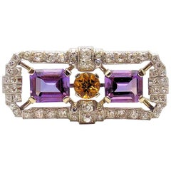 Antique Amethyst, Citrine and Diamond Brooch/Dress Clip