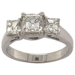 1.50 Carat Three-Stone Asscher Cut Diamond Ring Set in Platinum