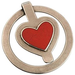 Georg Jensen Sterling Silver Money Clip No 390 with Red Heart Shaped Enamel
