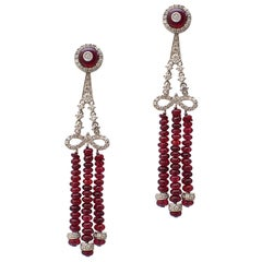 Ruby Bead and Diamond Chandelier Earrings in 18 Karat White Gold