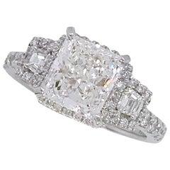 GIA Certified 2.00 Carat Radiant Cut Diamond Ring Set in 14 Karat White Gold