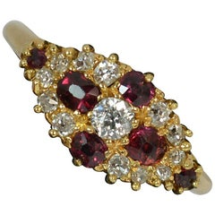 Victorian 18 Carat Gold Old Cut Ruby and Diamond Cluster Ring