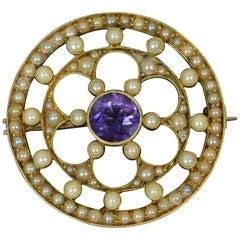 Edwardian 15 Carat Gold Amethyst Seed Pearl Suffragette Disc Brooch
