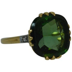 Early Victorian 18 Carat Gold Flat Tourmaline and Diamond Statement Ring