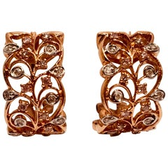 18 Karat Rose Gold Diamond Fancy Scrolling Filigree Earrings