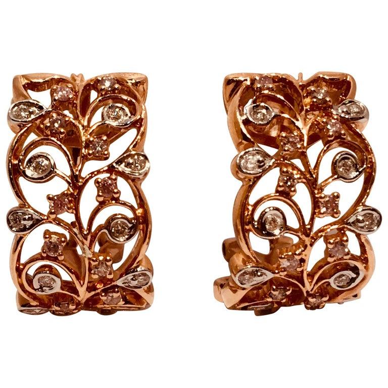 18 Karat Rose Gold Diamond Fancy Scrolling Filigree Earrings