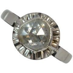 Huge Rose Cut Diamond 18 Carat White Gold Solitaire Ring