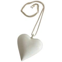 Royal Copenhagen Sterling Silver Necklace with White Porcelain Heart Pendant