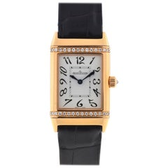 Jaeger Lecoultre 18 Karat Rose Gold Reverso Duetto Diamonds Watch