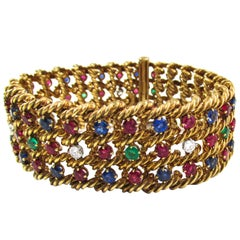 1960s Boucheron Paris Ruby Sapphire Emerald Diamond Gold Bracelet