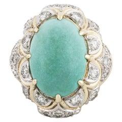 18 Karat Turquoise Diamond Ring