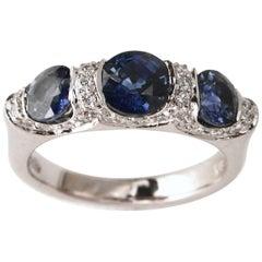 Carelle 18K WG 1.76 Ct Sapphire, .33 Ct Diamond Anniversary Three Stone Band