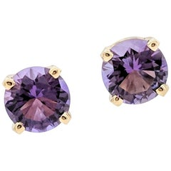 14 Karat Yellow Gold Round Amethyst Four-Prong Stud Earrings