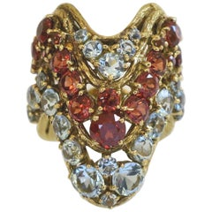 H. Stern Aquamarine and Hessonite Garnet Statement Ring, 1970s