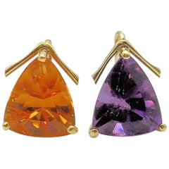 Amethyst and Citrine Earring Pendants/Drops set in 18 Karat Yellow Gold