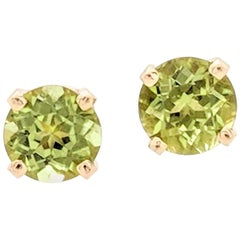 14 Karat Yellow Gold Round Peridot Four-Prong Stud Earrings