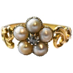 Antique 18 Carat Gold Pearl Daisy Cluster Ring