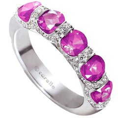 Carelle 18K WG 1.25 Ct Pink Sapphire .20 Ct Diamond Bridal Anniversary Band Ring