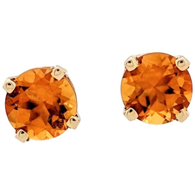 14-Karat Yellow Gold Round Citrine Four-Prong Stud Earrings