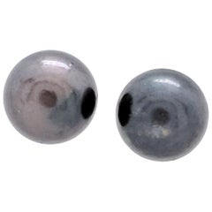 14 Karat Yellow Gold Round Tahitian Pearl Stud Earrings