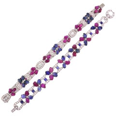 Pair of Tutti Frutti Platinum Bracelets with Sapphire Ruby Diamond Art Deco