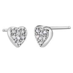 Heart Shape Diamond 0.20 Carat Cluster Stud Earrings