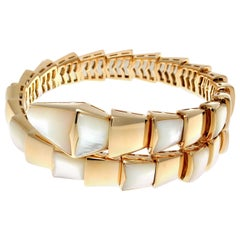 Bulgari Serpenti Mother-of-Pearl 18 Karat Gold Bangle Bracelet