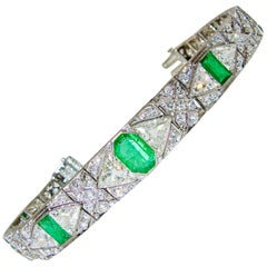 Art Deco Diamond and Emerald Bracelet by E. M. Gattle, circa 1920