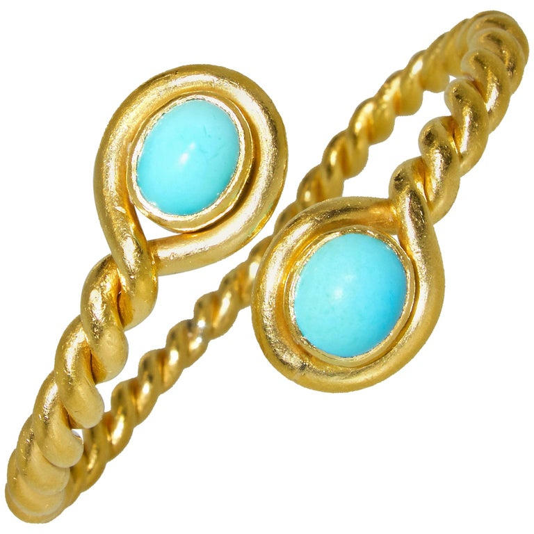 22 Karat and Persian Turquoise Bangle Bracelet, circa 1950