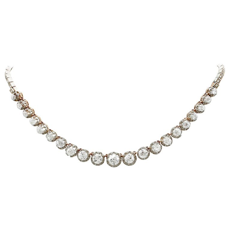 Antique French 11.12 Carat Diamond Yellow Gold, Platinum Set Necklace For Sale