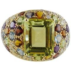 Topaz Garnets Peridots Iolite Amethysts Diamonds Rose Gold Ring