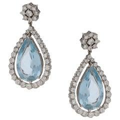 18 Karat Gold Aquamarine Diamond Drop Earrings