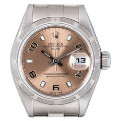 Rolex Date Ladies Stainless Steel Pink Dial 79190 Automatic Wristwatch