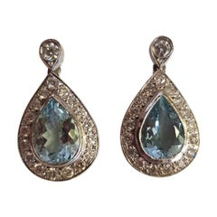 18 Carat White Gold Aquamarine and Diamond Earrings