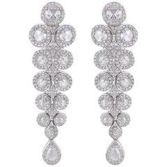 18 Karat Gold Fancy Round and Pear Shape Rose Cut Diamond Drop Earrings