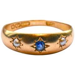 Antique Gypsy Ring, Gold, Sapphire and Pearl