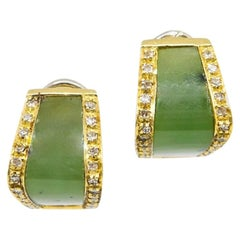 Vintage Pair of Nephrite Jade and Diamond Earrings Set in 18 Carat Gold
